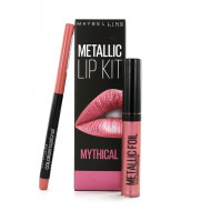 Set ruj de buze si creion contur Maybelline Metallic Lip Kit Mythical
