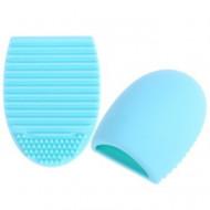 Brush Egg - Accesoriu din silicon pentru curatarea pensulelor de machiaj, Culoarea Albastru