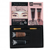Kit sprancene 2 gel sprancene Kiss Beauty Eyebrow Gel+pensula aplicare