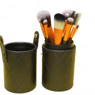 Set 12 Pensule Machiaj, Makeup, Etui Depozitare Negru