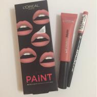Ruj de buze + Creion contur L'Oreal Lip Kit Paint 201 Hollywood Beige