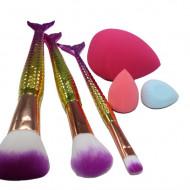 Set aplicatoare machiaj, Makeup, 3 pensule, 3 bureti