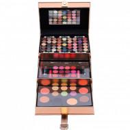 Trusa machiaj Magic Color Make up Kit, 85 culori, Rose Gold, Geanta inclusa