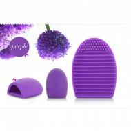 Brush Egg - Accesoriu din silicon pentru curatarea pensulelor de machiaj, Culoarea Mov