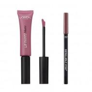 Ruj de buze + Creion contur L'Oreal Lip Kit Paint 212 Nude-Ist