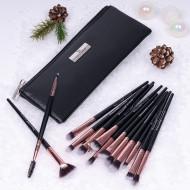 Set 15 pensule machiaj Senso Pro Milano Black Rose Gold + Borseta