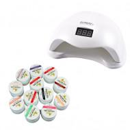 Set Lampa unghii UV LED SUN PRO si 12 Geluri UV Coco More Professional