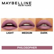 Ruj de buze rezistent la transfer Maybelline Superstay Matte Ink 100 Philosopher