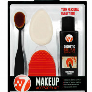 Set curatare pensule si aplicatoare machiaj W7 Makeup Kit, 4 piese