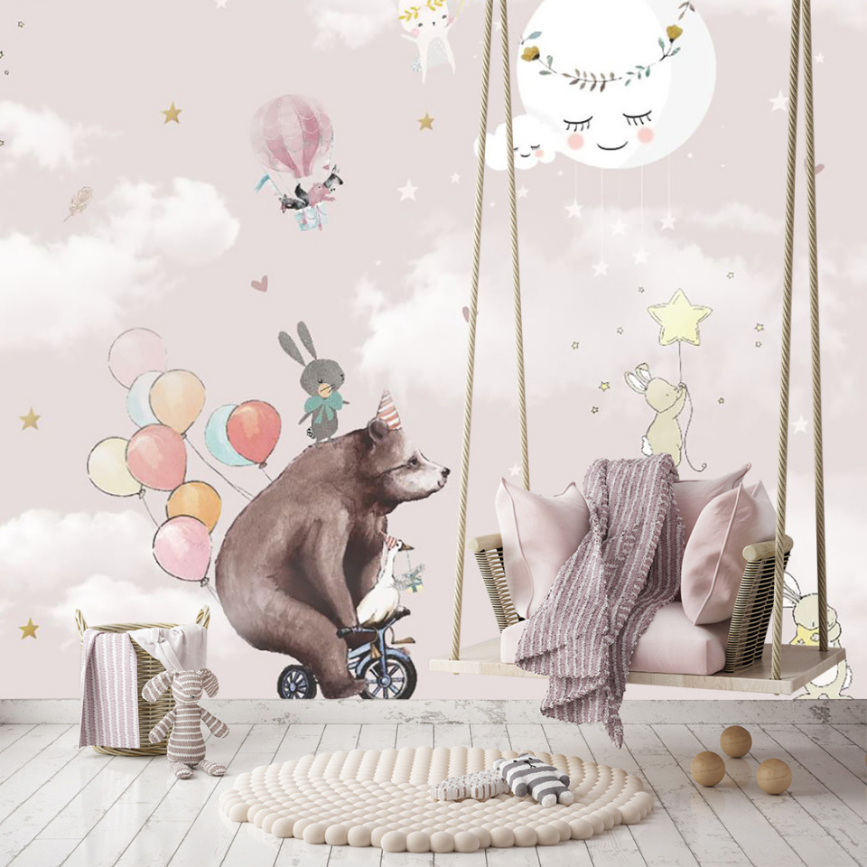 Tapet- teddy bear soft pink