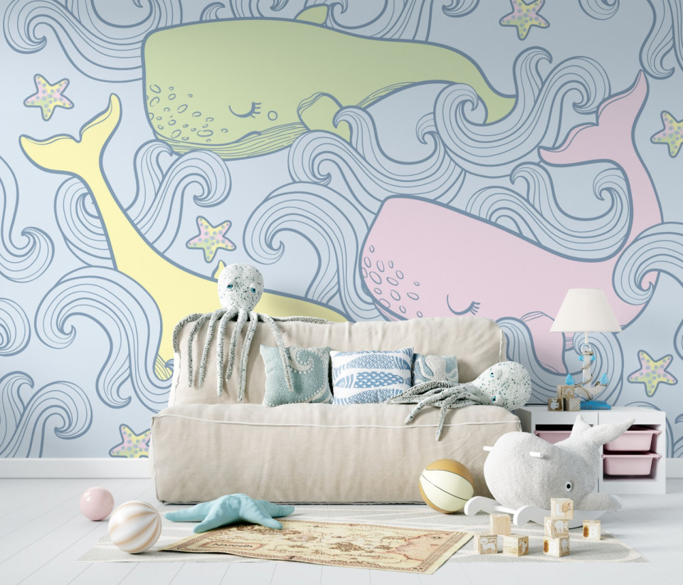 Tapet Pastel Whales