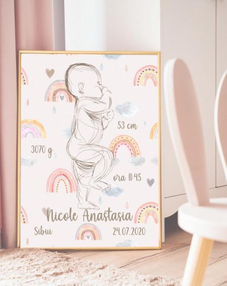 Rainbow Birth Poster PINK