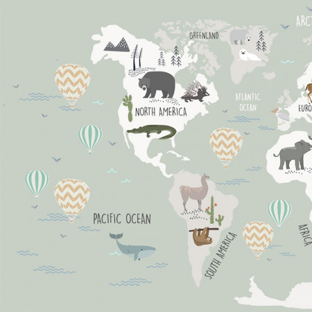 Tapet- world map green
