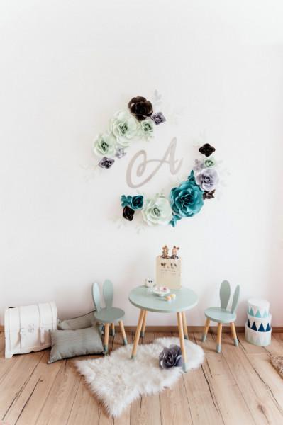 Flori decorative duo blue cu initiala