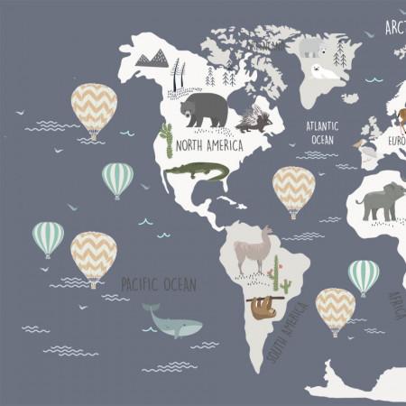 Tapet- world map blue