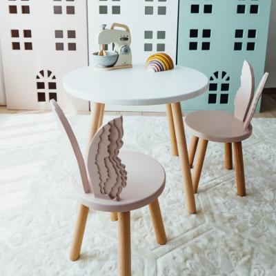 Set masuta rotunda alba si 2 scaunele ingeras roz