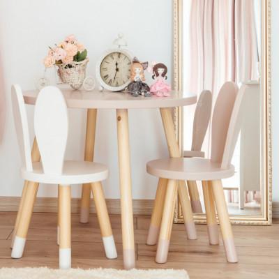 Set masuta rotunda roz si 2 scaunele iepuras roz si alb