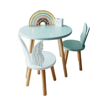 Set masuta rotunda mint si 2 scaunele ingeras alb si mint