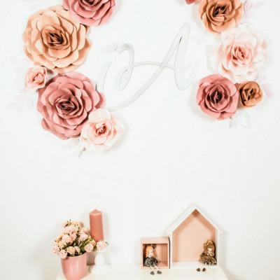 Flori decorative duo cu initiala