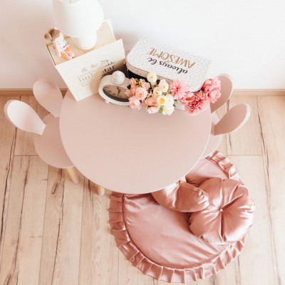 Set masuta rotunda roz si 2 scaunele iepuras roz