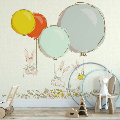 Tapet Bunnies with Balloons