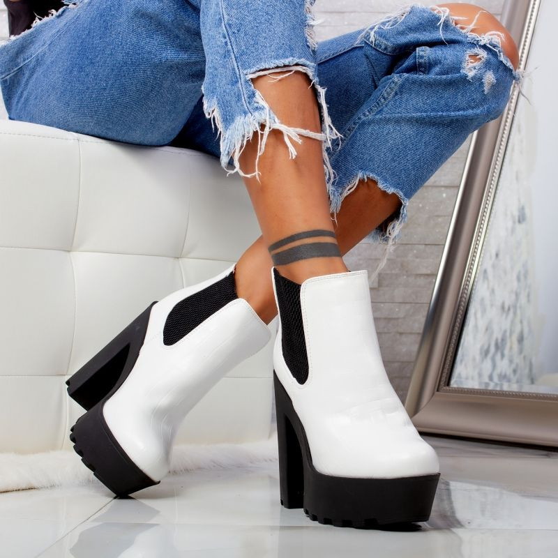 "Botine ""MireaFashion"" Cod: OM293-1 WHITE (D14)"