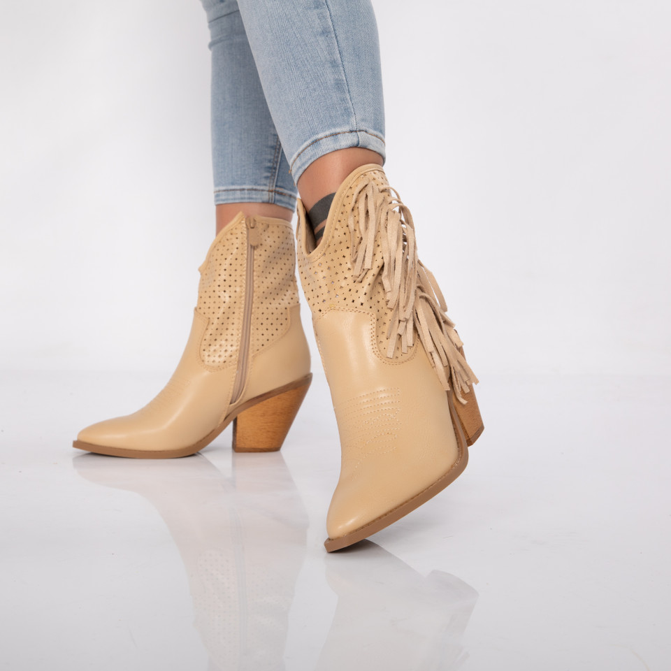 "Botine ""MireaFashion"" cod: SA6083 BEIGE (LL1)"