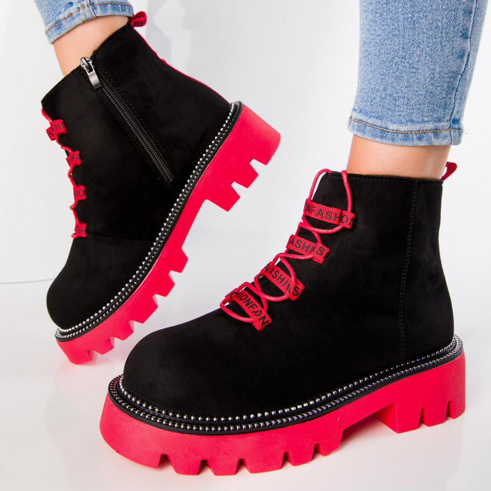 "Ghete ""MireaFashion"" Cod: 2029-6 BLACK/RED (F2)"