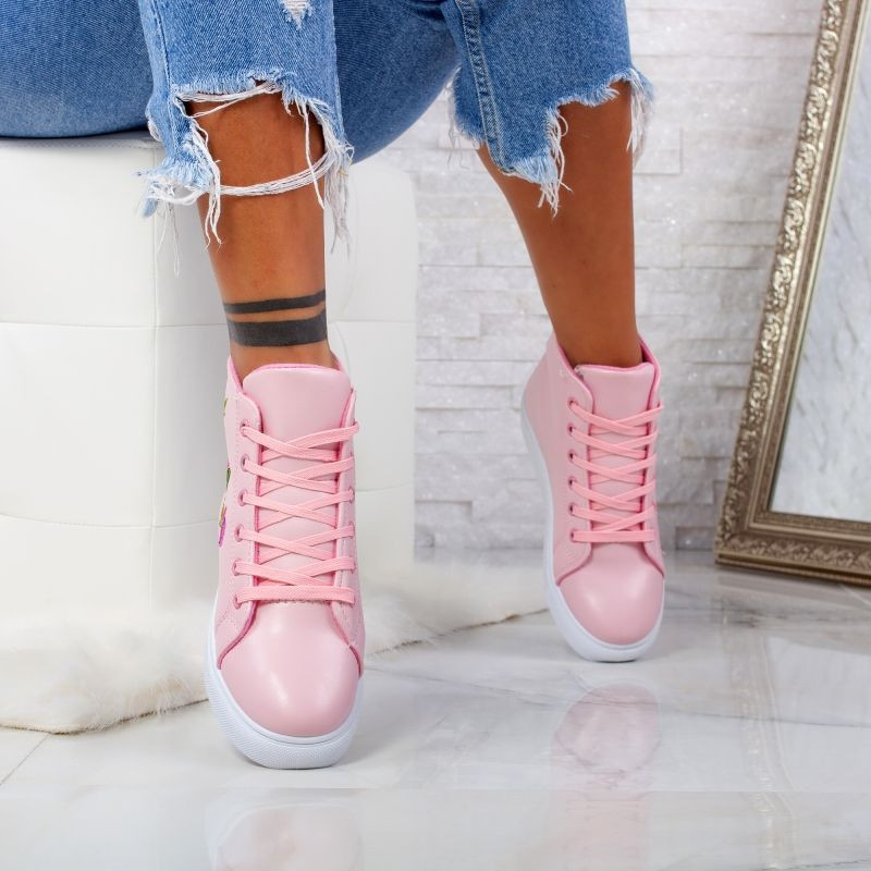 "Ghete ""MireaFashion"" Cod: H-101 PINK/WHITE (G11-13)"