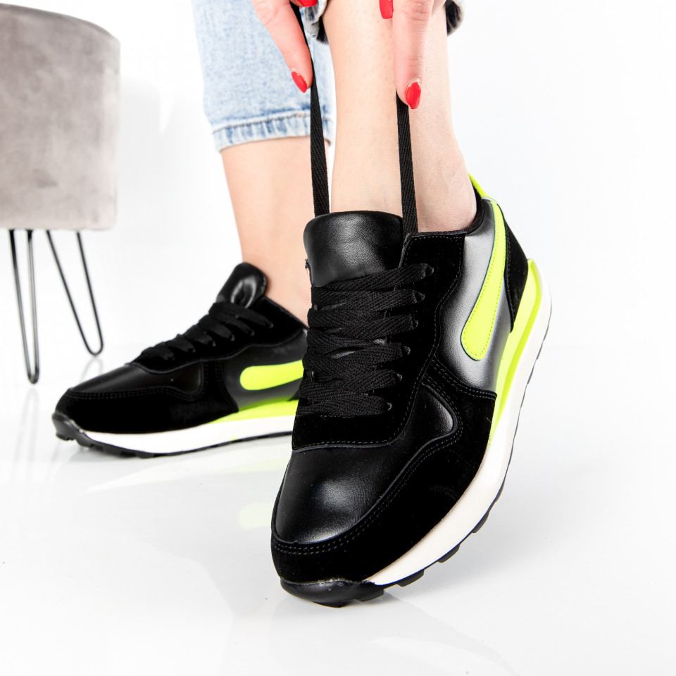 "Pantofi Sport ""MireaFashion"" Cod: 01 BLACK/GREEN (P15)"