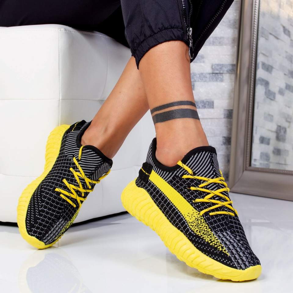 "Pantofi Sport ""MireaFashion"" Cod: B01 BLACK/YELLOW (E12)"