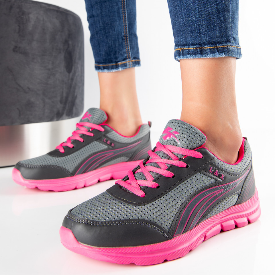 "Pantofi Sport ""MireaFashion"" Cod: B702 GREY/FUCHSIA (E7)"