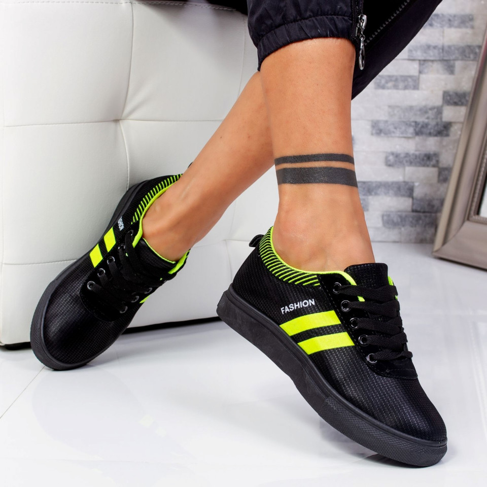 "Pantofi Sport ""MireaFashion"" Cod: C-3 BLACK/GREEN"