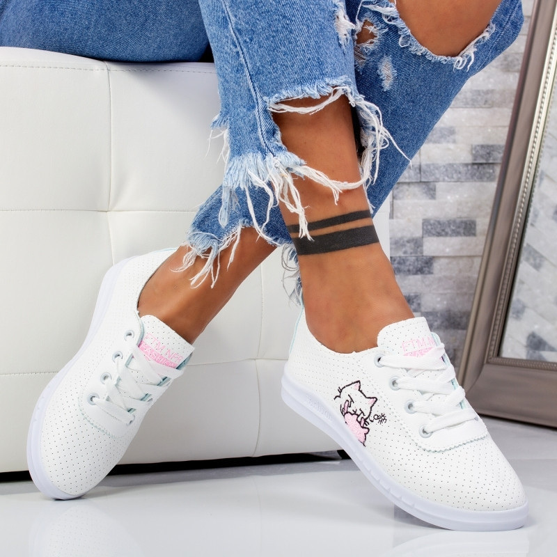 "Pantofi Sport ""MireaFashion"" Cod: F-2 WHITE/PINK (P10)"