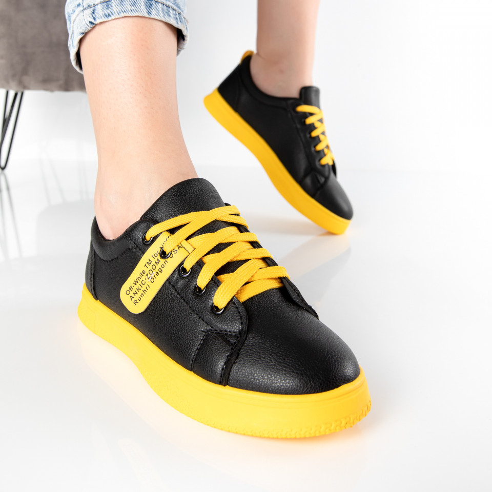 "Pantofi sport""MireaFashion"" Cod: HQ-007-33 BLACK/YELLOW (P1)"