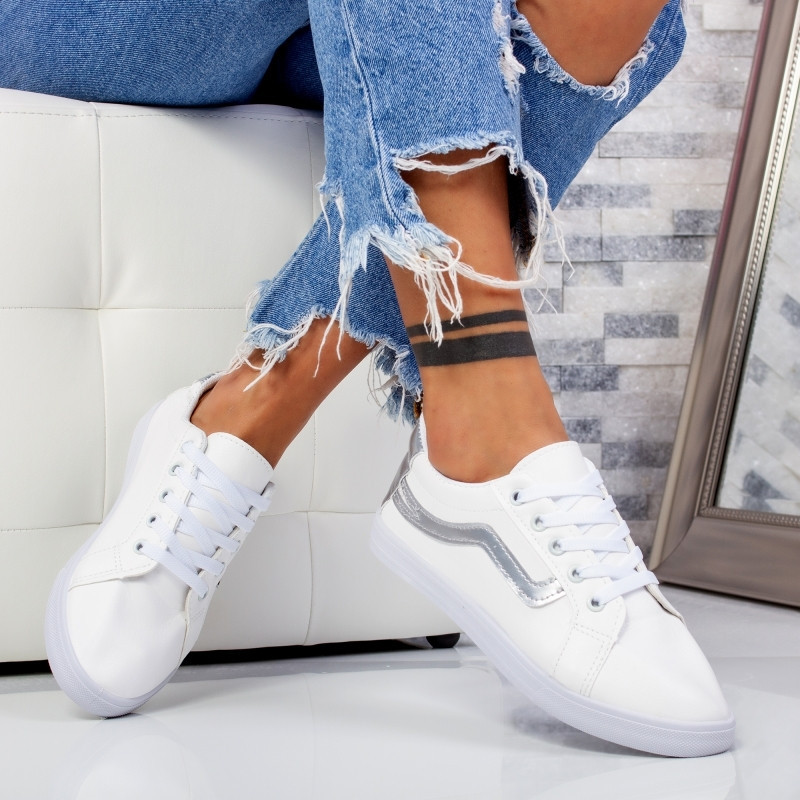 "Pantofi Sport ""MireaFashion"" Cod: HQ-116 WHITE/SILVER (P11)"