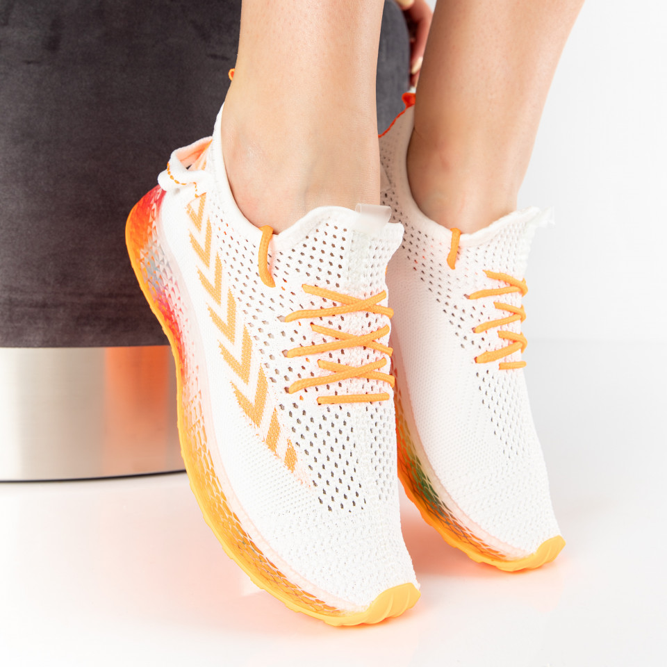 "Pantofi Sport ""MireaFashion"" Cod: J77-5 WHITE/ORANGE (O14-15)"