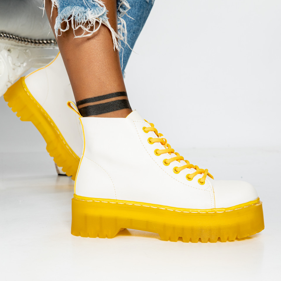 "Ghete ""MireaFashion"" cod: BS-006 WHITE/YELLOW (N16)"