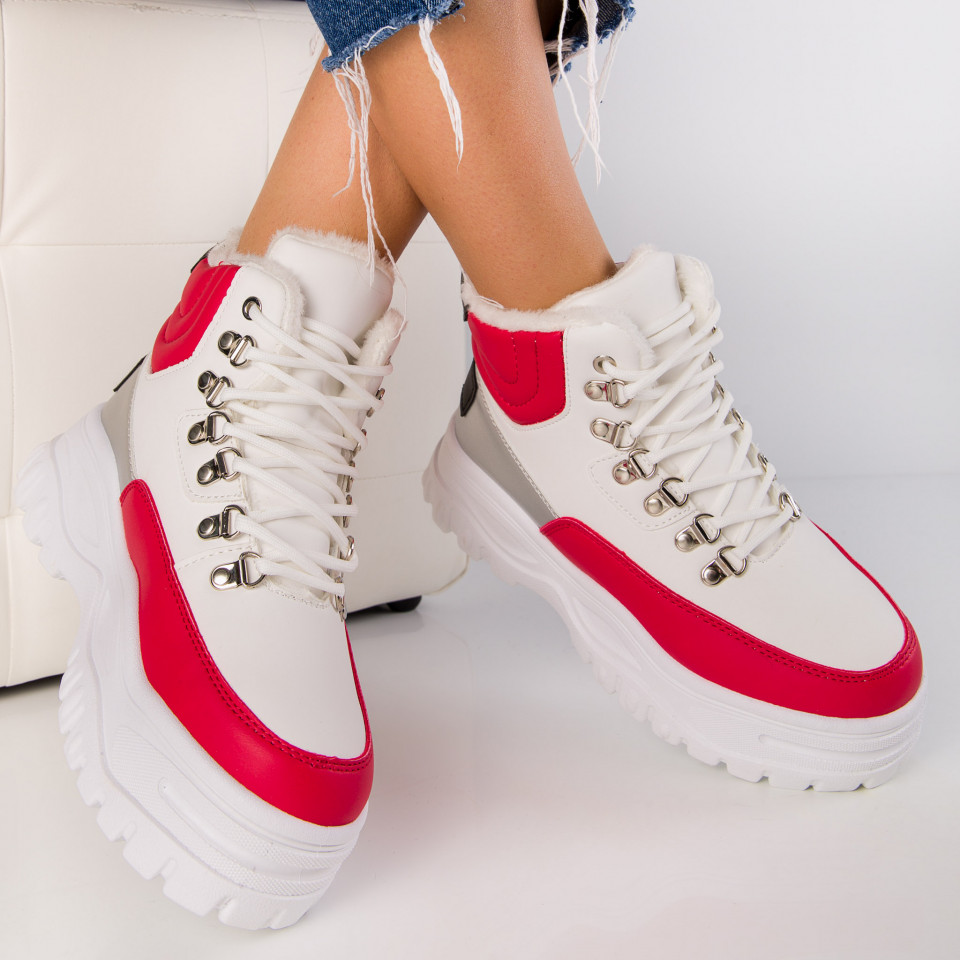 "Ghete ""MireaFashion"" Cod: S312-2 WHITE/RED (K1)"