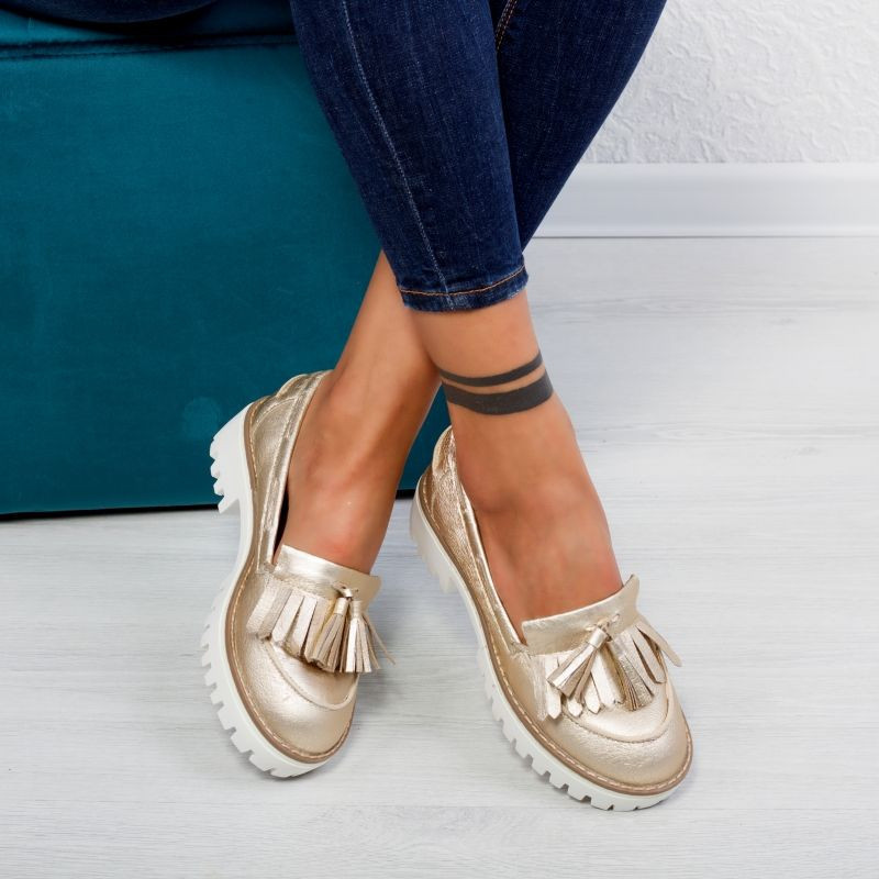 "Pantofi ""MireaFashion"" Cod: 1AX-17266 GOLD (S5)"