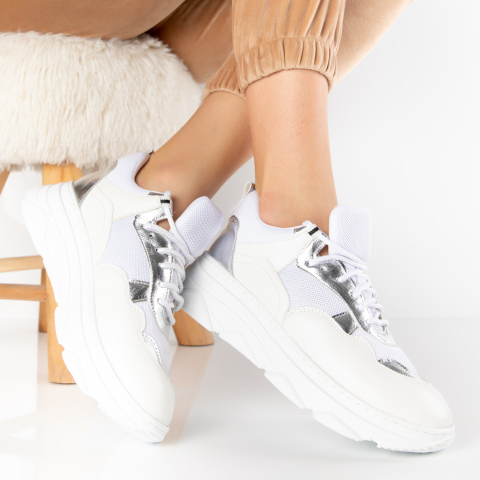 "Pantofi Sport ""MireaFashion"" Cod: 252 WHITE/SILVER (S14)"