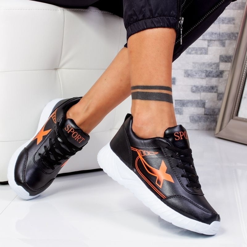 "Pantofi Sport ""MireaFashion"" Cod: 320 BLACK/ORANGE (S7)"