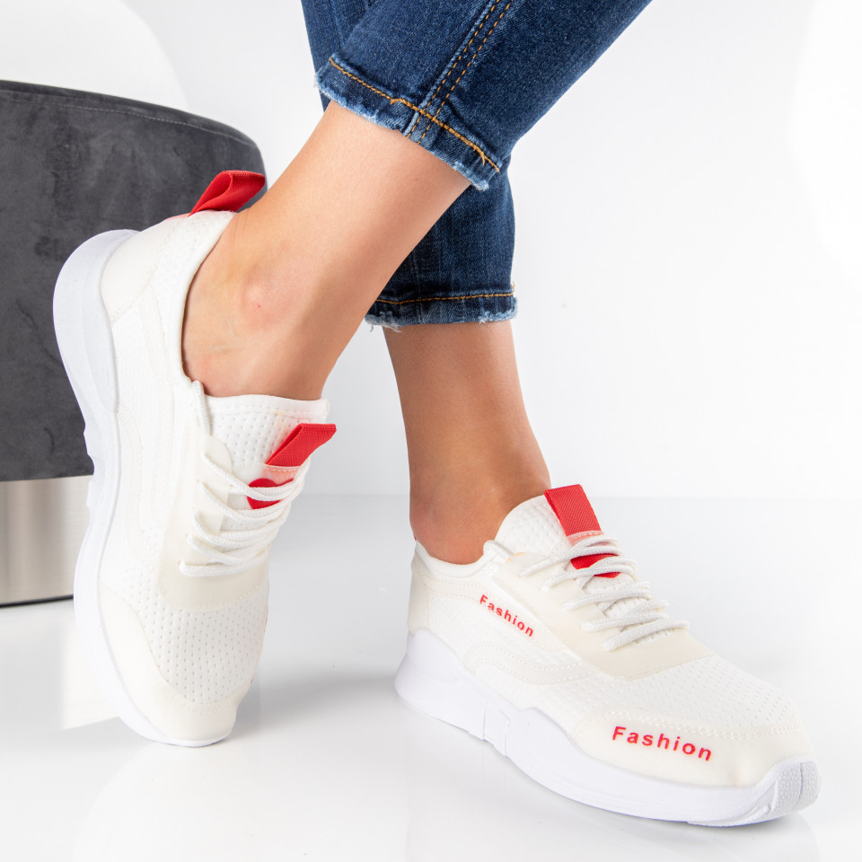 "Pantofi Sport ""MireaFashion"" Cod: 599 WHITE/RED (F16)"