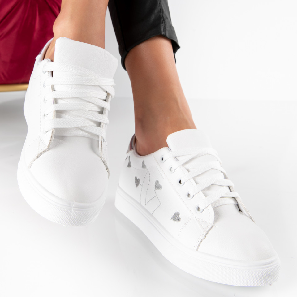 "Pantofi Sport ""MireaFashion"" Cod: 908 WHITE/SILVER (E7)"