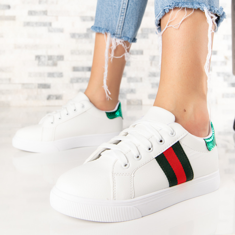 "Pantofi Sport ""MireaFashion"" Cod: A511 WHITE/GREEN (Q12)"