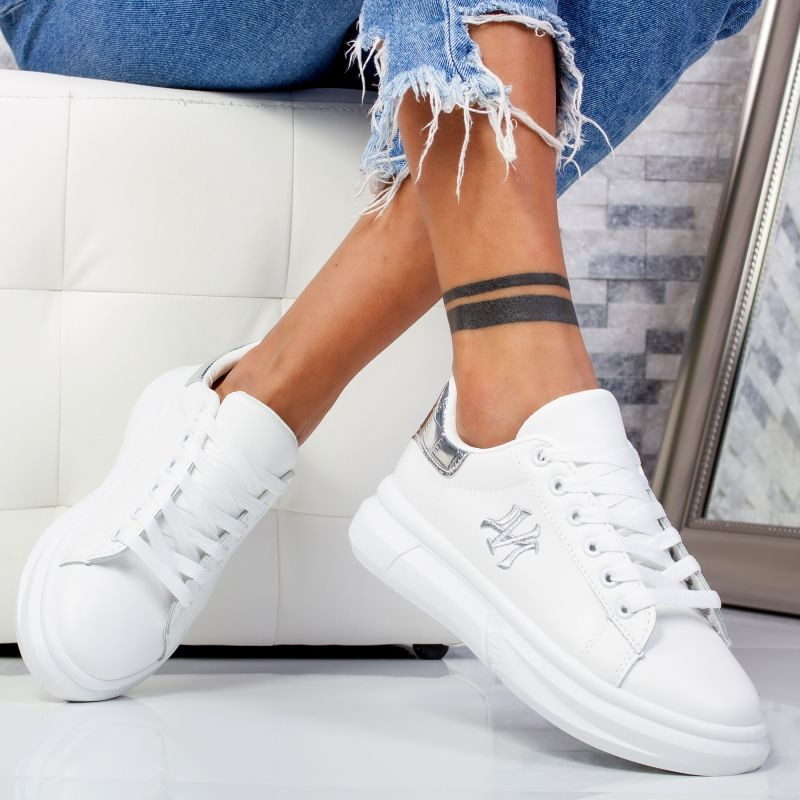 "Pantofi Sport ""MireaFashion"" Cod: B55 WHITE/SILVER (K11)"