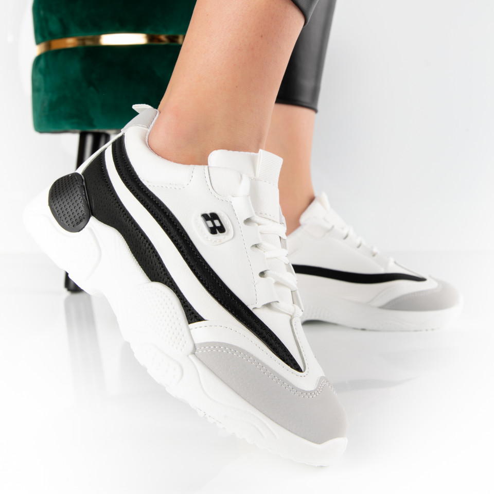 "Pantofi Sport ""MireaFashion"" Cod: H-21 WHITE/BLACK (K7)"