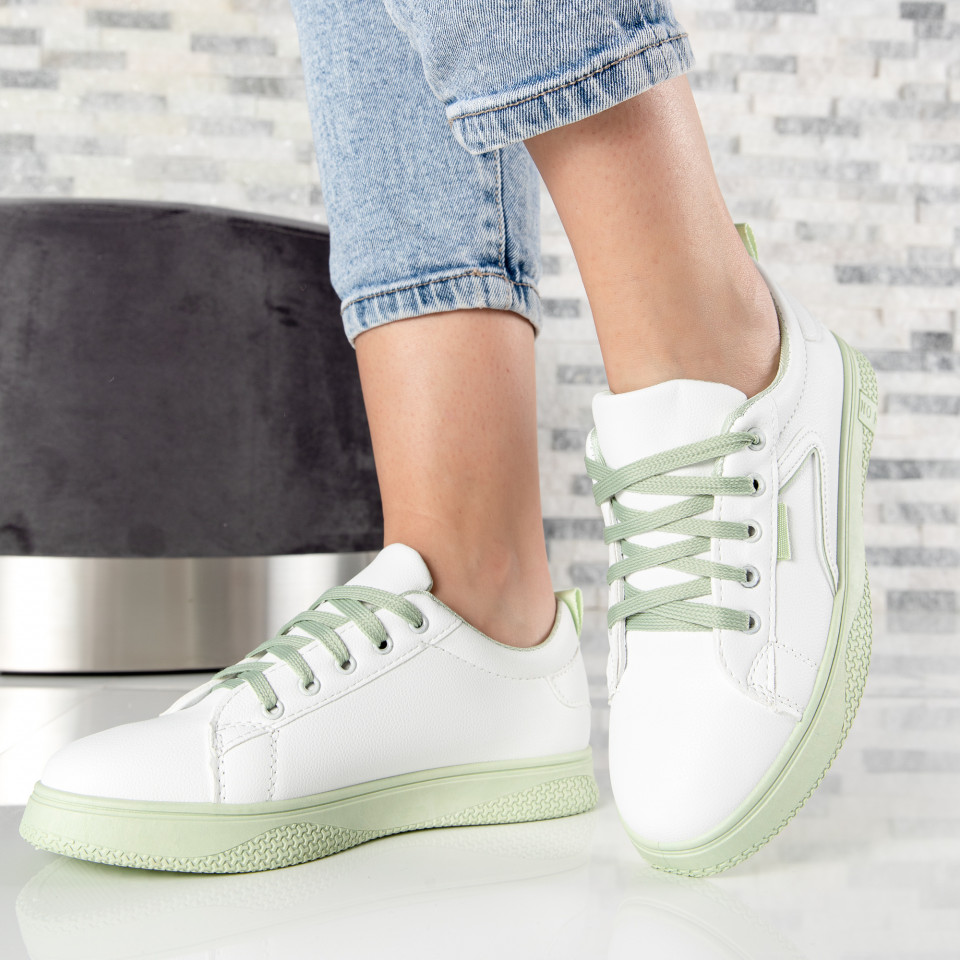 "Pantofi sport""MireaFashion"" Cod: HQ-008-35 WHITE/L.GREEN (F3)"