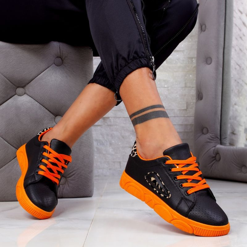 "Pantofi Sport ""MireaFashion"" Cod: HQ-106 BLACK/ORANGE (XX4)"