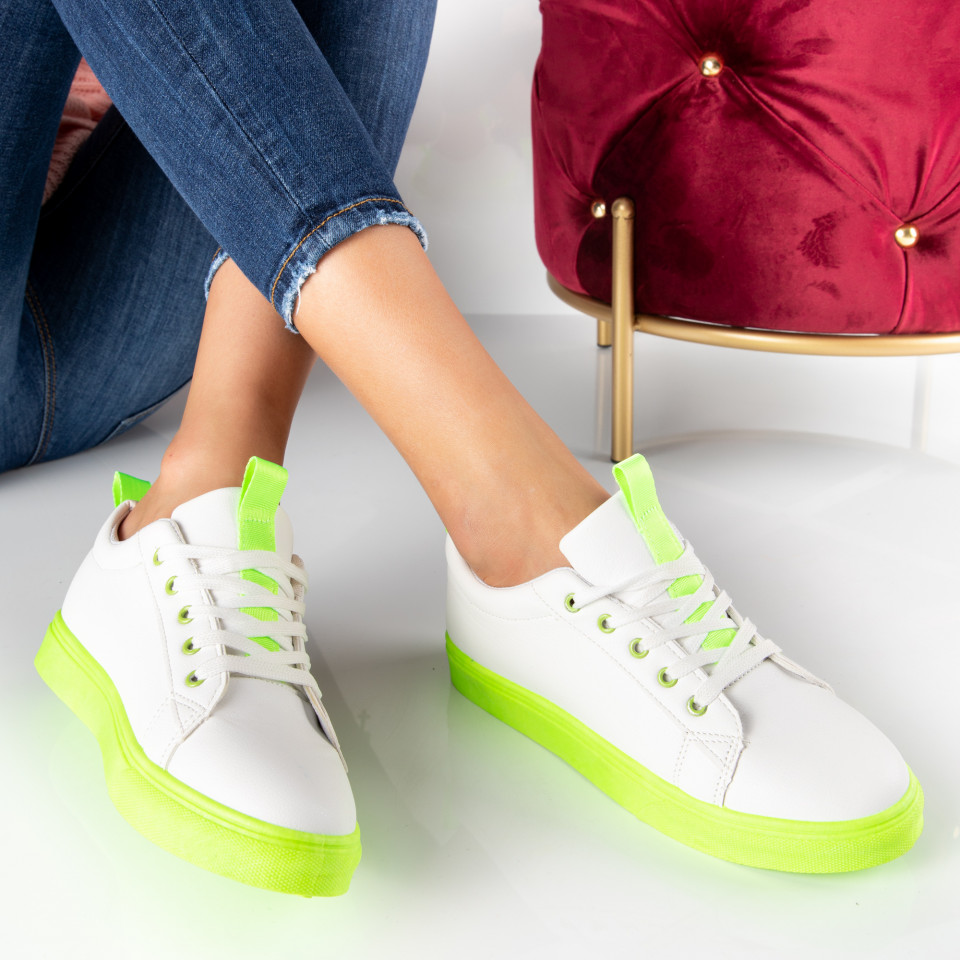 "Pantofi Sport ""MireaFashion"" Cod: HQ-A02 WHITE/GREEN (K16)"